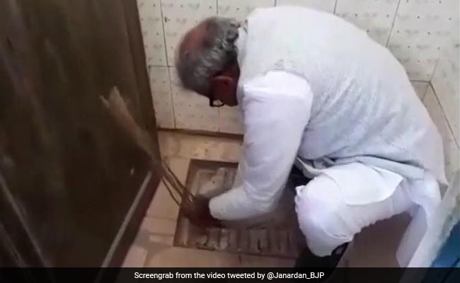 BJP MP cleans school toilet with bare hands