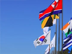 North Korean Flag Raised In South Korea For Winter Olympic Games