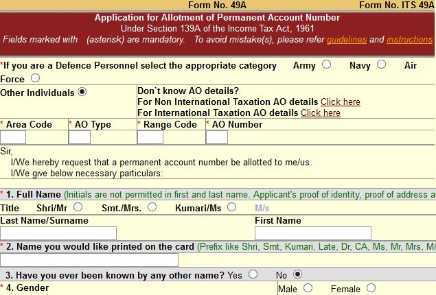 pan card form