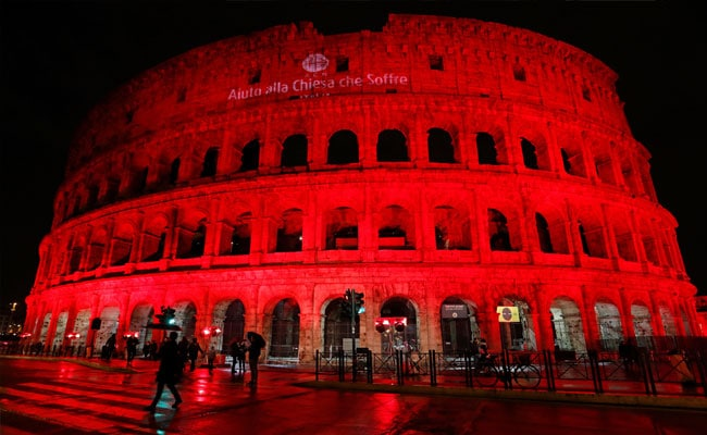 Famous Colosseum Of Rome Lit In Red To Protest Pakistan's Blasphemy Law
