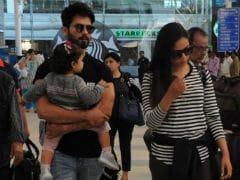 Shahid Kapoor Returns To Mumbai With Wife Mira, Daughter Misha. See Pics At Airport