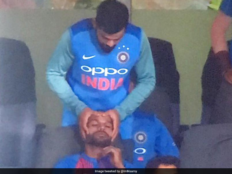 Injured Virat Kohli Gives Head Massage To Shikhar Dhawan During 3rd T20I