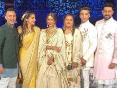 Sonam Kapoor And Anand Ahuja Pose With 'Juhu Gang' Shweta, Abhishek Bachchan And Karan Johar At Mohit Marwah's Wedding