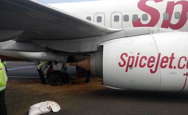 SpiceJet plane makes emergency landing after tire burst during takeoff at Chennai
