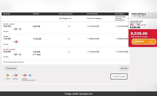 spicejet delhi tirupati airline website