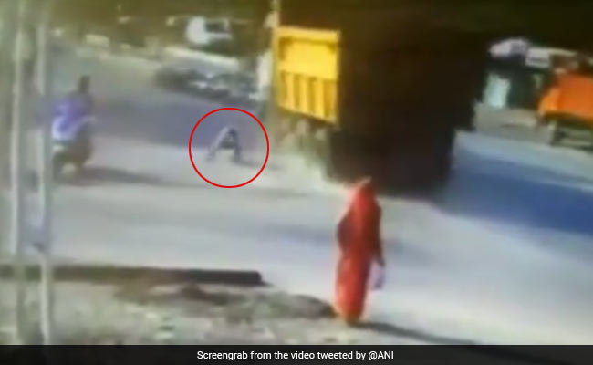 Caught On Camera: Gujarat Man Hit By Truck. He Walks Away Unhurt
