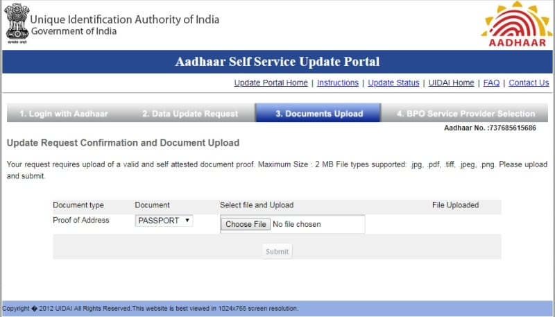 aadhaar address update document