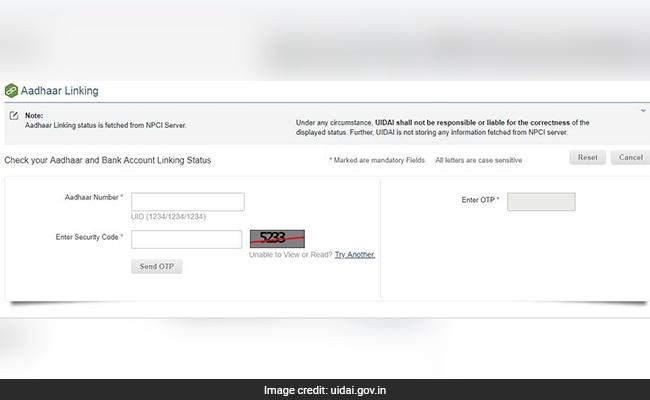 aadhaar bank link uidai website