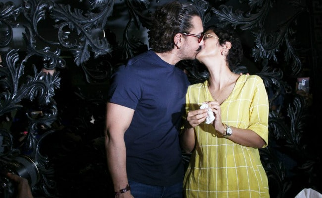Aamir Khan Cuts His Birthday Cake, Seals It With A Kiss For Wife Kiran Rao