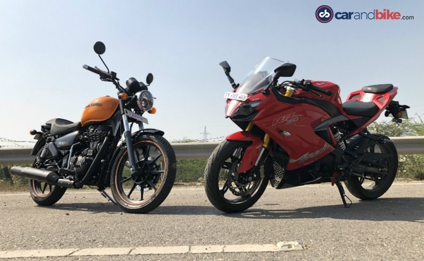 We compare the TVS Apache RR 310 to the Royal Enfield Thunderbird 500X