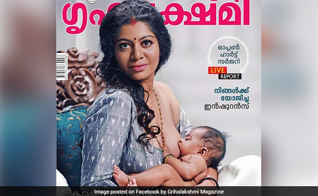 Model Breastfeeding Baby On Kerala Magazine Grihalakshmi's