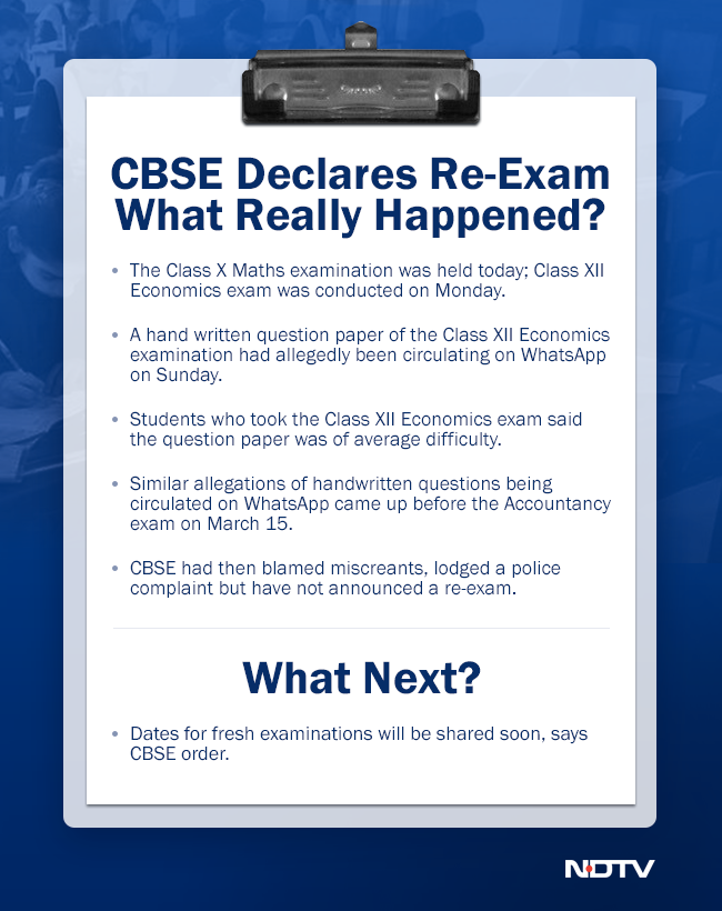 CBSE announces re-examination for Class 10 maths, Class 12 economics papers