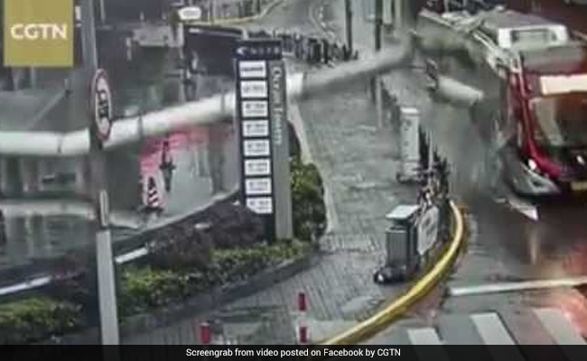 Pillar Falls Off Building, Lands On Moving Bus. Watch Shocking Video