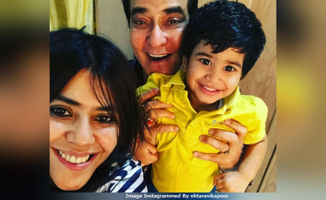 Baby Laksshya With Bua Ekta Kapoor And Grandfather Jeetendra. That's A Cute Pic