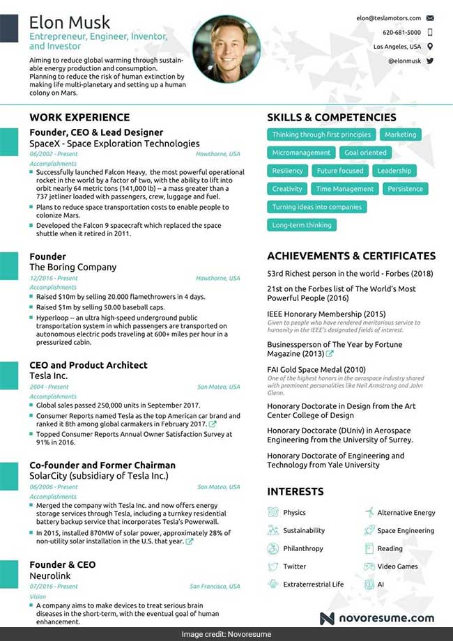 elon musk u0026 39 s impressive resume fits into just one page  why