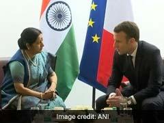 Sushma Swaraj Calls On Emmanuel Macron, Discusses People-To-People Ties In Delhi