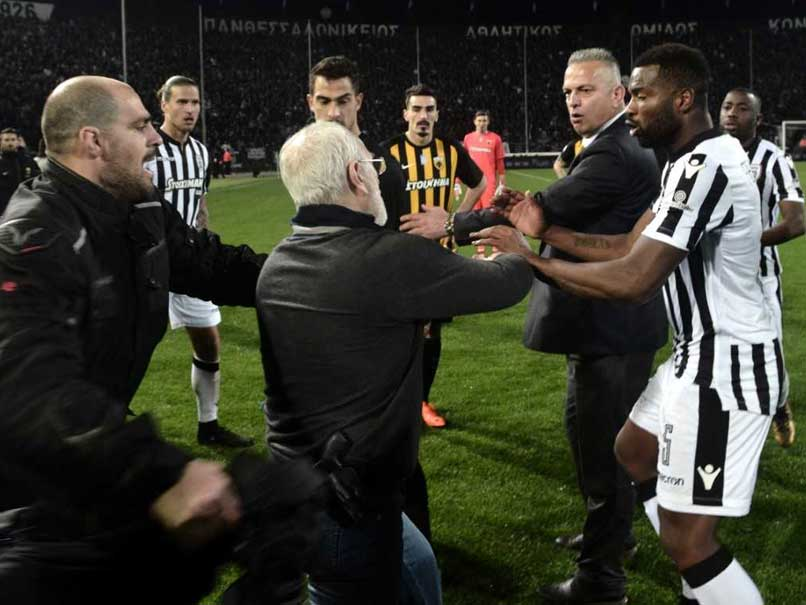 Watch: Greek Football Game Abandoned After PAOK Chief Enters Pitch With Gun