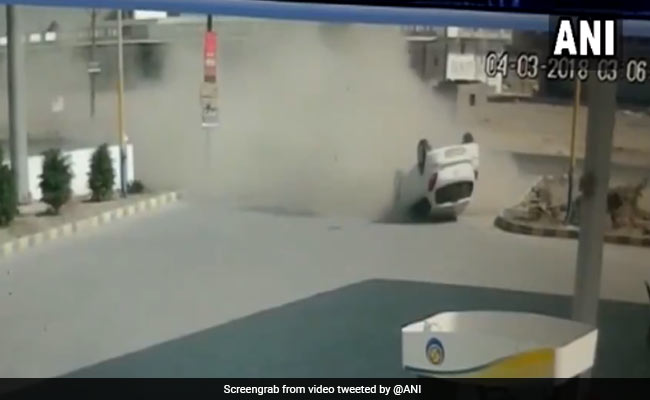 Watch: In Gujarat, Speeding Car Loses Control, Turns Upside Down. Then This