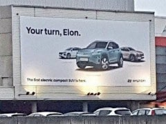 Hyundai Trolls Tesla With New Kona Compact Electric SUV Billboard