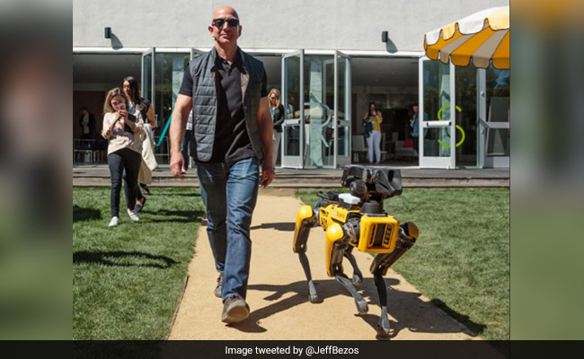 Amazon CEO Jeff Bezos takes his new robot dog for a stroll