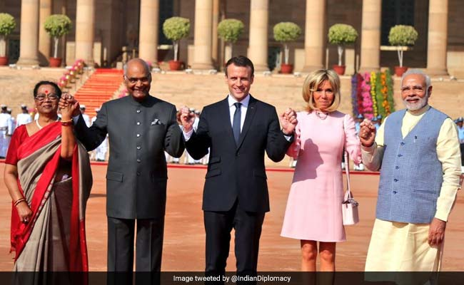 Macron In India Highlights: French President Welcomed At Rashtrapati Bhavan