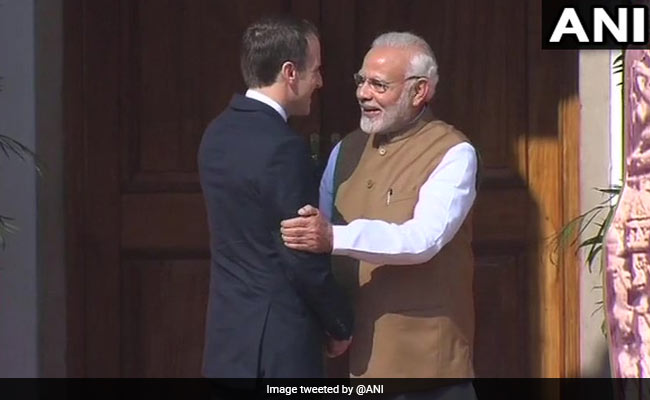 French President Emmanuel Macron receives ceremonial welcomes at Rashtrapati Bhavan