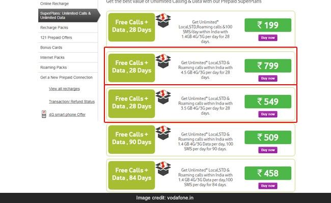 vodafone prepaid recharge plans