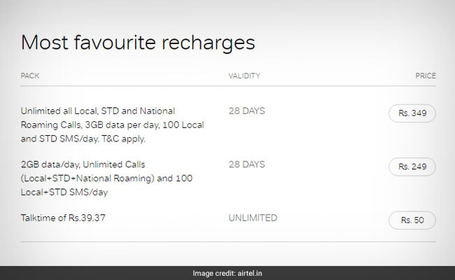 Airtel's Most Favourite Recharges: Prepaid Plans Priced at Rs. 50, Rs. 249, Rs. 349