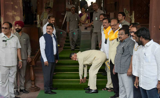 Chandrababu Naidu, Fighting For Andhra 'Special Status', Spends Day In Parliament