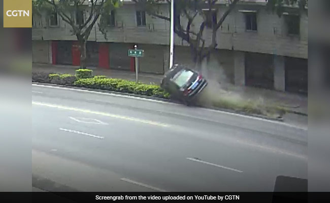 Car Flips After Hitting Divider. Then Driver Emerges From Wreckage Unhurt