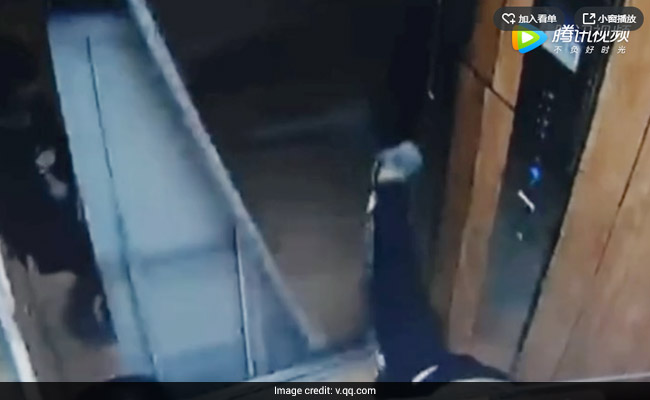 He Was Stretching Inside Elevator And The Doors Came Crashing Down. Watch