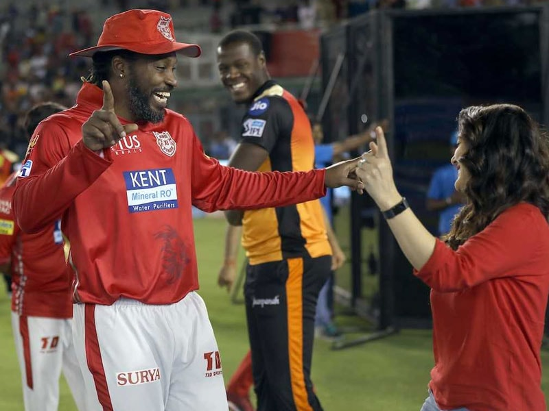 Gayle has a Bhangra moment after the match with Priety Zinta. (IANS)