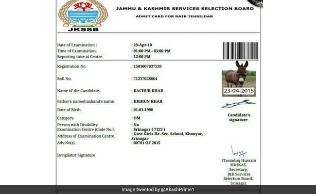 Donkey issued hall ticket for JKSSB exam