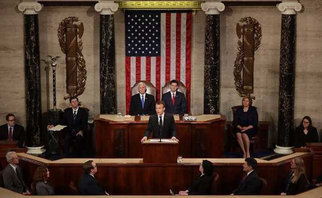 Before Rare Address To US Congress, Macron Gets 3-Minute Standing Ovation