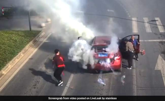 Caught On CCTV: Fireworks Explode Inside Car, Close Shave For Passengers