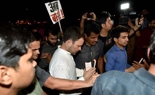 Rahul Gandhi Leads Candlelight Vigil In Delhi Demanding Justice In Kathua, Unnao Cases
