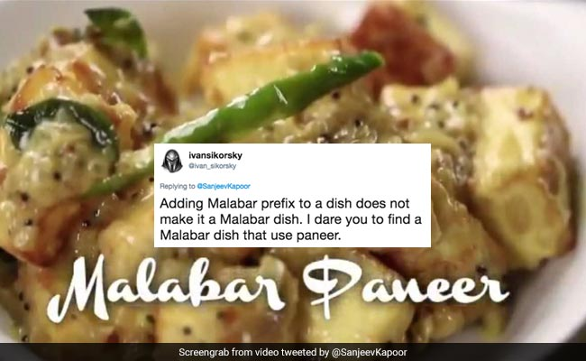 Sanjeev kapoor shares recipe for malabar paneer gets roasted on twitter forumfinder Choice Image