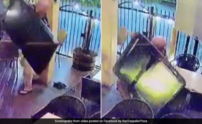 Thief Steals TV From Pizza Place, Almost Gets Crushed Under It