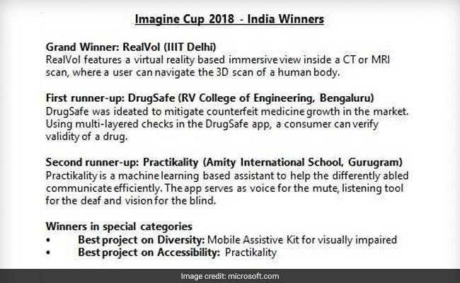 microsoft imagine cup india finals winners