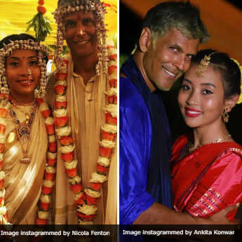 On Milind Soman's Bride Ankita Konwar: A Dreamy <i>Mekhla</i> Before An Off-White Wedding