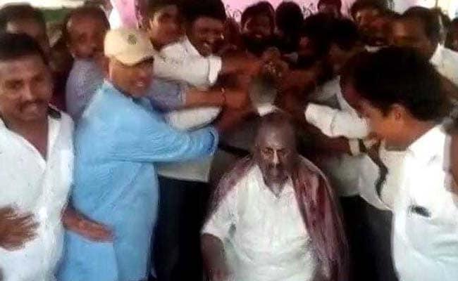 Telangana Assembly Speaker Gets 'VIP Milk Bath', Slammed On Twitter