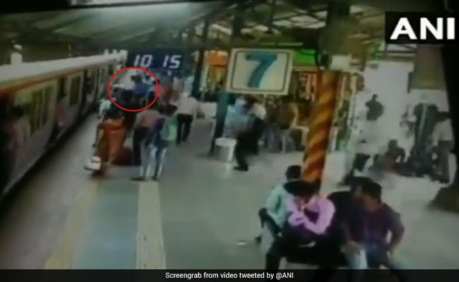 Mumbai Woman Nearly Fell Under Train While Trying To Pick Up Bag