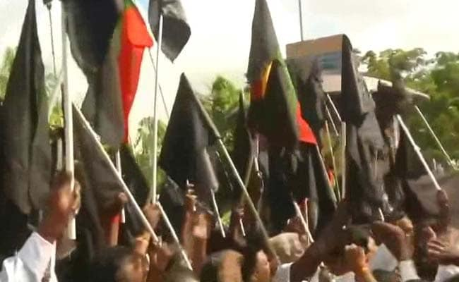 Black Flag Cauvery Protests As PM Modi Arrives In Chennai for DefExpo