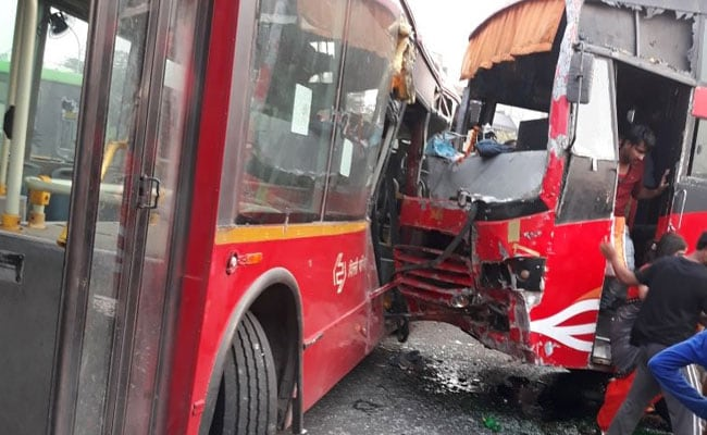 2 Dead As Buses Collide In Busy Intersection Near Delhi