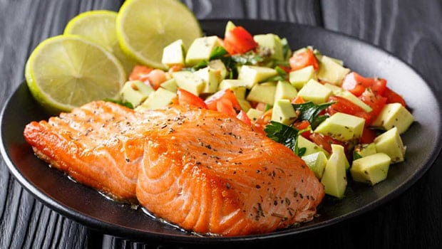 Zesty Smoked Salmon with Avocado Tomato Salad