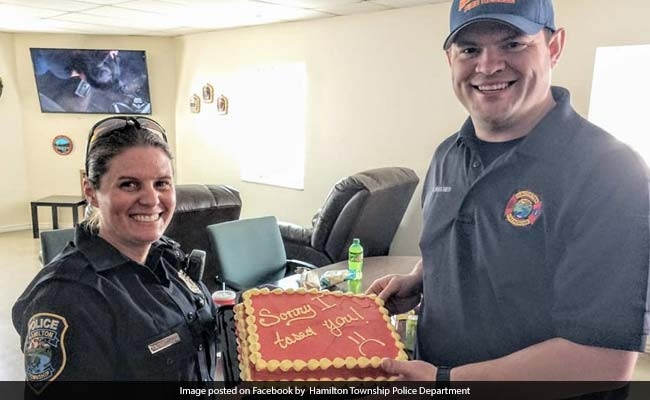 Cop Who Shocked Fireman With Stun Gun Makes Up With 'Sorry I Tased You' Cake