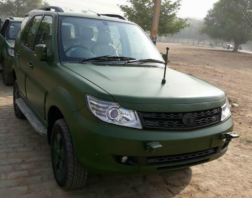 Tata Safari Storme Army Version In Matte Green Paint