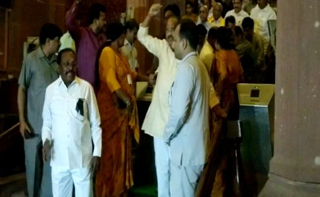 TDP Lawmakers Stayed Put After Rajya Sabha Was Adjourned. Marshalled Out