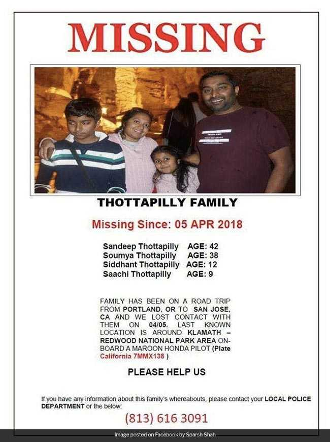 thottapilly family missing facebook poster us