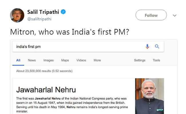 Google, Bing's 'india first pm' Search Result Has Twitter Abuzz
